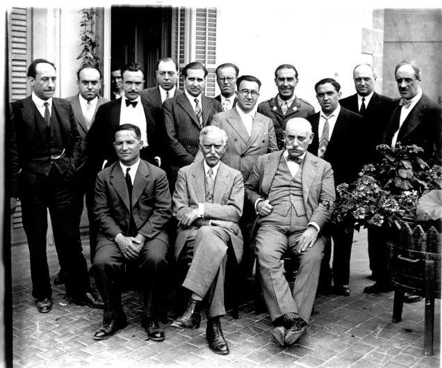 El president de la Generalitat Francesc Macià amb altres autoritats, en una estada a l'Hotel Sant Roc de Solsona el juny de 1931.