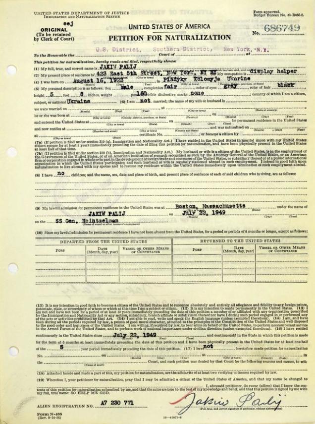 El formulario de petición de ciudadanía estadounidense de Jakiw Palij
